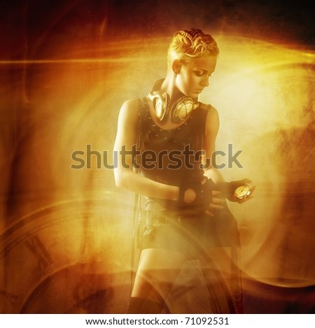 Attractive steam punk girl against abstract background - stock photo