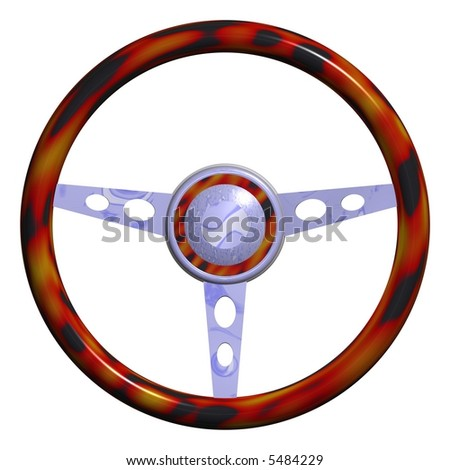 attractive steering wheel isolated on white - stock photo