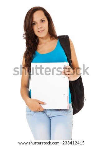 Attractive student. All on white background.