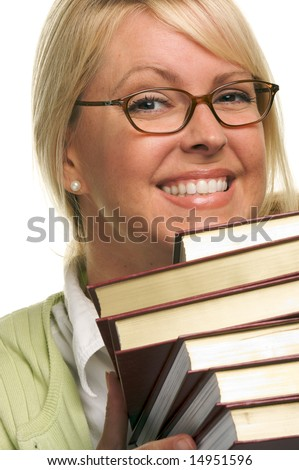 Attractive Student Carrying Her Books Isolated on a White Background. - stock photo