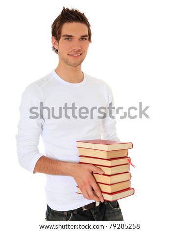 Attractive student carrying pile of books. All on white background. - stock photo
