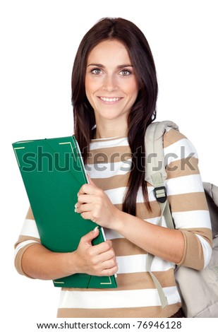 Attractive student girl isolated on a over white background - stock photo