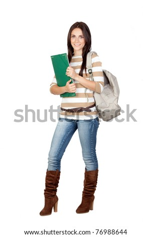 Attractive student girl isolated on a over white background