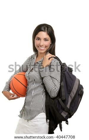 Attractive student woman with bag and basketball ball on white background - stock photo