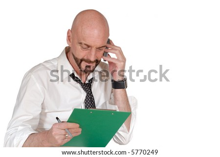 Attractive successful  bearded  middle aged businessman, multi tasking, Business, corporate, concept. - stock photo