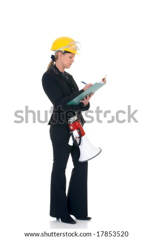 Attractive successful young construction supervisor with megaphone making notes.  studio shot.