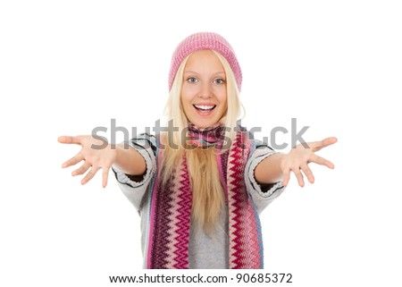 attractive surprised excited smile woman looking at camera holding hands on face, wear winter knitted pink hat scarf and sweater, isolated over white background - stock photo