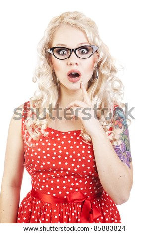 Attractive surprised girl - stock photo