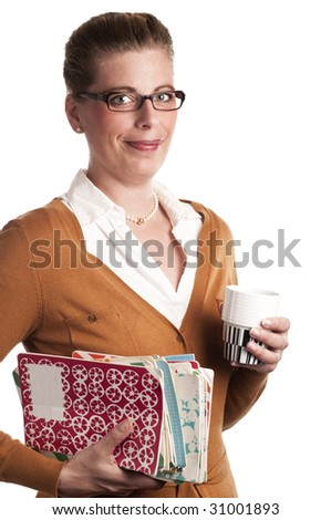 Attractive teacher carries books and a cup of coffee on white background - stock photo