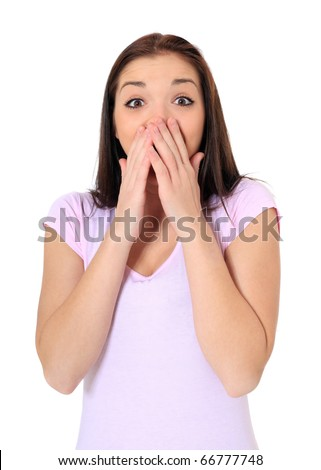 Attractive teenage girl being surprised. All on white background. - stock photo