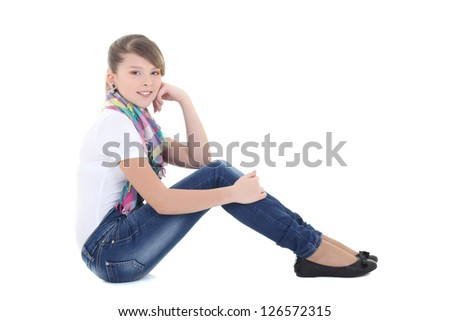attractive teenage girl dreaming over white background