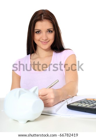 Attractive teenage girl organizing her savings. All on white background. - stock photo