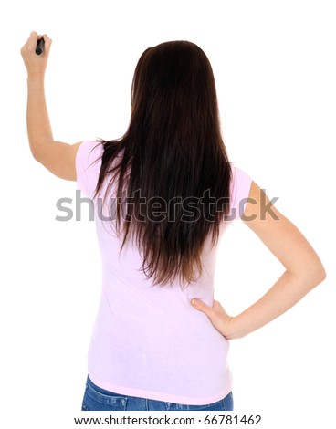 Attractive teenage girl using black marker. All on white background. - stock photo