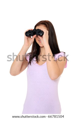 Attractive teenage girl using spyglass. All on white background. - stock photo