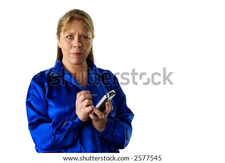 Attractive thirty or forty something woman with long blonde hair, PDA handheld computer and stylus, wearing a deep blue shirt on white background. - stock photo