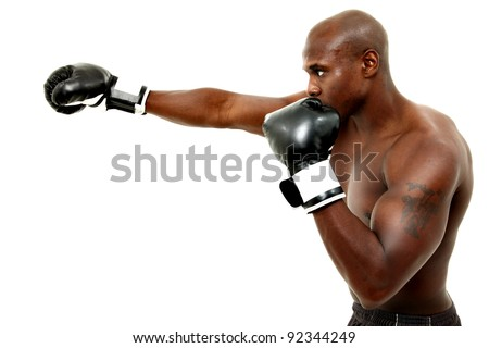 Attractive thirty something black male boxer over white background. - stock photo