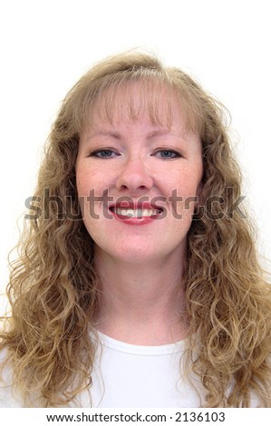 Attractive thirty-something caucasion woman smiling. An all american girl. Isolated on white. - stock photo