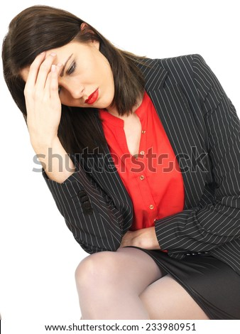Attractive Thoughtful Business Woman Sitting Alone - stock photo