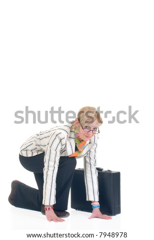 Attractive trendy, stylish young businesswoman in getting start position.  White background