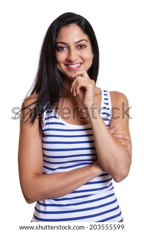 Attractive turkish woman in a striped shirt - stock photo