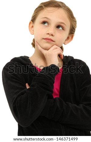Attractive Tween Girl Child Thinking Seriously over White. - stock photo