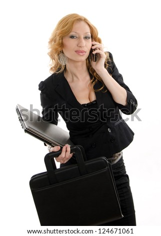 Attractive twenties caucasian businesswoman