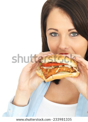 Attractive Twenty Something Young Woman Eating a Chicken Burger