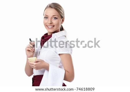 Attractive waitress on a white background - stock photo