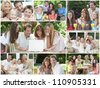 Attractive white Caucasian families mothers, fathers, sons, daughters, grandparents outside having fun in the summer sunshine, eating, sitting, smiling, waving, laughing, happy - stock photo