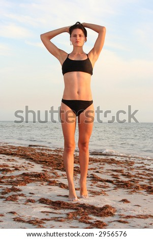 Attractive woman at beach posing in bikini