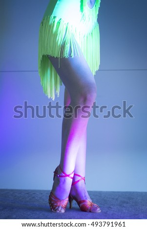 Stock Photo Attractive Woman Ballroom And Salsa Dance Dancer And Teacher With Sexy Legs Dancing In Nightclub on Foxtrot Steps Woman