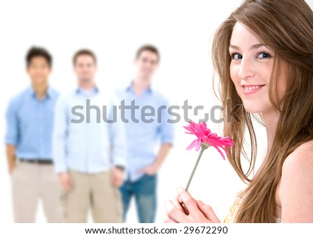 Attractive woman being courted - stock photo