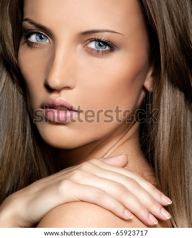 attractive woman closeup portrait - stock photo