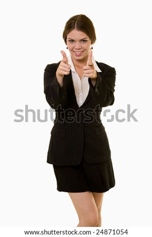 Attractive woman dressed in business attire standing on white background pointing two fingers forward smiling - stock photo