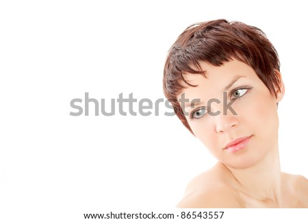Attractive woman face with clean skin - isolated on white - stock photo