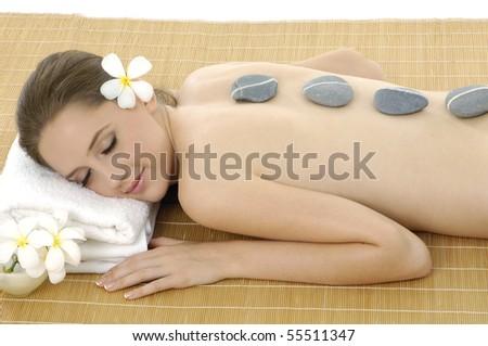 Attractive woman getting spa treatment i - stock photo