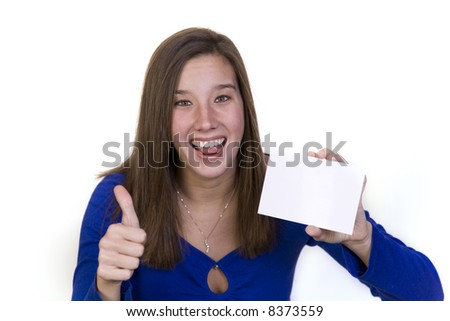 Attractive woman holding a notecard for text