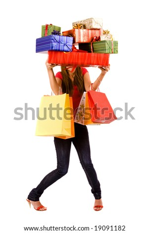Attractive woman holding many gift box and bags.