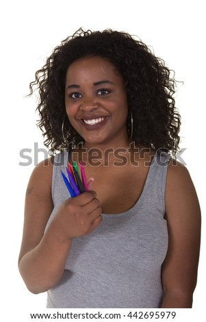 Attractive woman holding markers