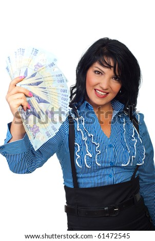 Attractive woman holding  Romanian currency banknotes and smiling isolated on white background - stock photo