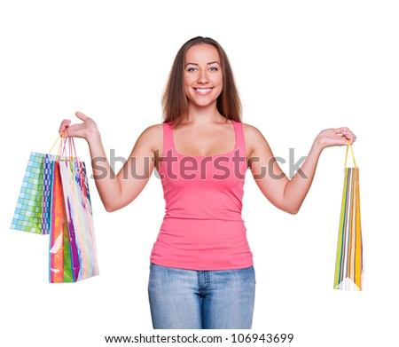 attractive woman holding shopping bags. isolated on white background