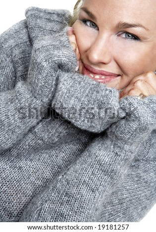 attractive woman in a warm sweater