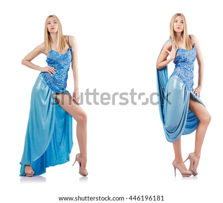 Attractive woman in blue dress on white - stock photo