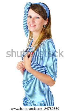 attractive woman in blue-white dress, isolated on white - stock photo