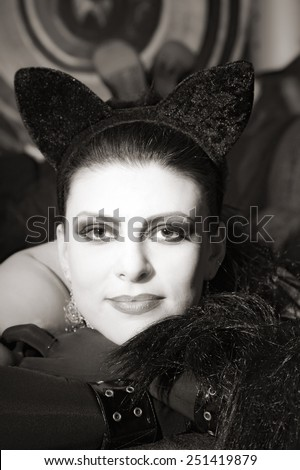 attractive woman in image of cat - stock photo