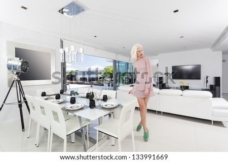 Attractive woman in luxury apartment - stock photo