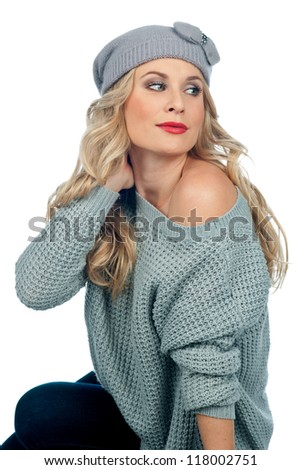 attractive woman in warm winter clothes isolated - stock photo