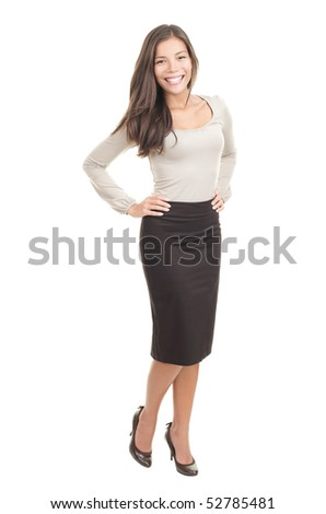 Attractive woman isolated in full length on white background. Beautiful mixed race Chinese Asian-Caucasian young female model. - stock photo