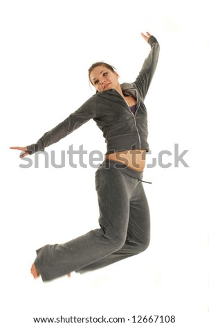 attractive woman jumping on white background