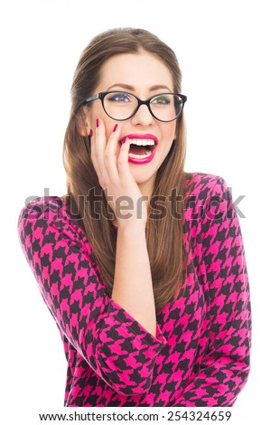 Attractive woman laughing - stock photo